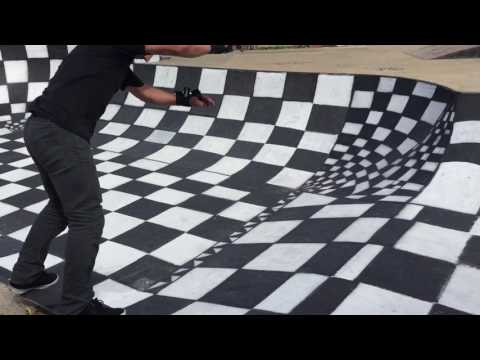 Kings park local ripping newly painted Vans checkerboard skatepark