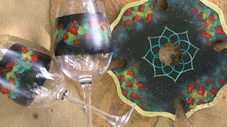 Geranium Wine Topper & Glasses Tole And Decorative Painting By Patricia Rawlinson