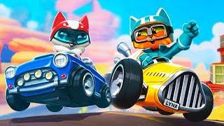Веселые КОТЯТА - ГОНКИ НА МАШИНАХ веселый детский летсплей игры про Котят гонщиков Meow Motors
