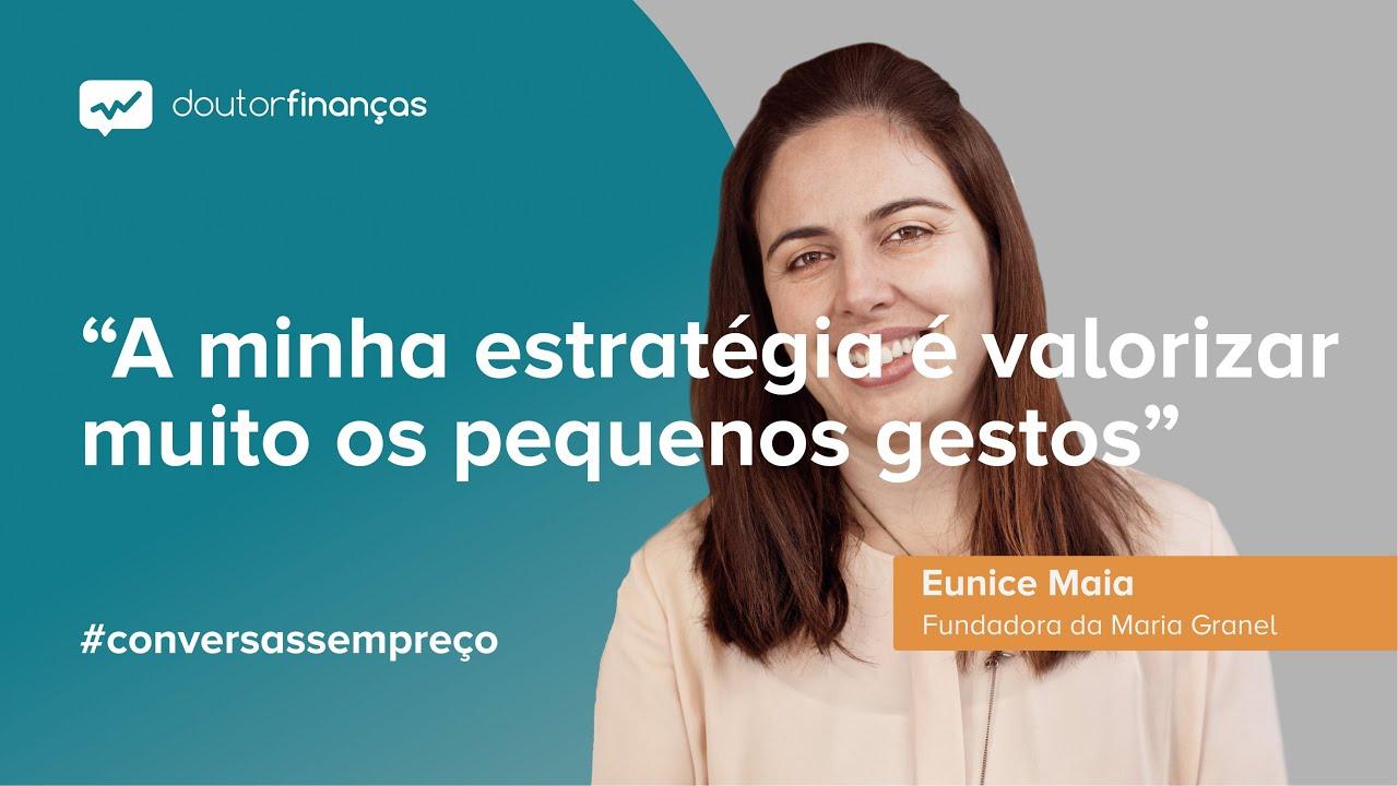 Imagem de um pc portátilonde se vê o programa Conversas sem Preço com a entrevista a Eunice Maia, fundadora da Maria Granel