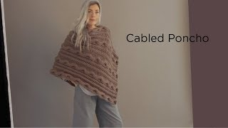 Cabled Poncho knit with Wool-Ease® Thick & Quick®