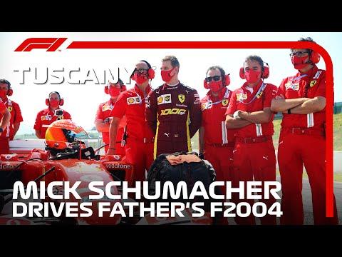 8戦で15勝をあげたフェラーリ史上最強の跳ね馬の一台。父ミハエルのフェラーリF2004を息子のミック・シューマッハがムジェロサーキットでデモ走行する動画