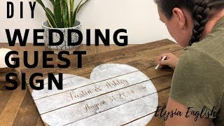 DIY Wood Wedding Sign Board | How To Make A Wedding Guest Book |  Wedding Decor  Tutorial