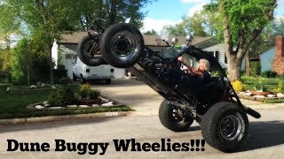 Dune buggy wheelie and driving it