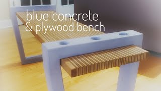 How to make a Modern Plywood Bench w/ blue concrete legs (or a Coffee Table) || DIY