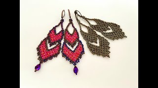 Party Wear Beaded Earrings || How To Make Beaded Earrings || Huichol Beaded Earrings