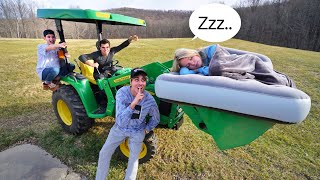 Lifting my girlfriend with TRACTOR while ASLEEP! *PRANK WARS*