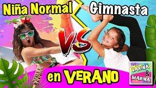 !NIÑA NORMAL VS NIÑA GIMNASTA En El VERANO! ☀️ RETOS Y SALTOS De GIMNASIA  RÍTMICA En LA PISCINA 💦