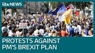 Protests staged as PM's Brexit plan faces mounti...