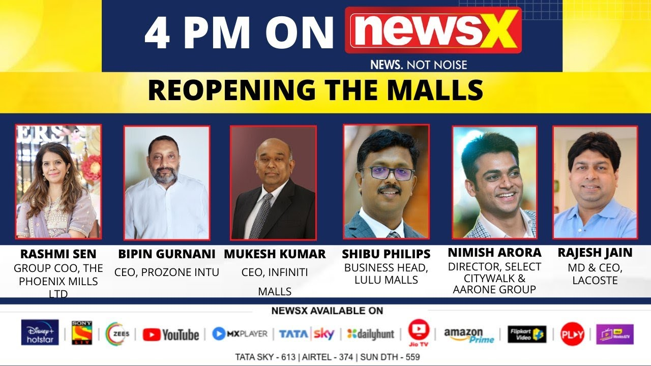 Rashmi Sen, Group COO, The Phoenix Mills Ltd., Bipin Gurnani, CEO, Prozone Int, Mukesh Kumar, CEO, Infiniti Mall, Shibu Philips, Business Head, Lulu Malls on a Special Panel Discussion discuss the Reopening of Malls across the country   31 MAY 2020   News