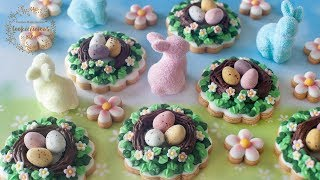 How To Make EASTER EGG NEST Cookies With Chocolate Speckled Eggs + Mini Daisy Cookies