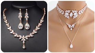 Luxurious Sparkling Bridal Diamond Necklace With Diamond Earrings