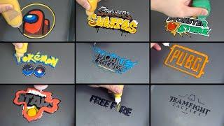 Mobile Game Logo Pancake Art - Among us, legends, free fire, subway surfers, poke go, monster strike