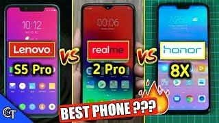 Lenovo S5 Pro Vs Realme 2 Pro Vs Honor 8X - Full Comparison - Which One is Best for you?? Quad Cam??