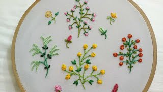 Hand Embroidery Designs Of 4 Different Small Flower Plants With Easy Stitches