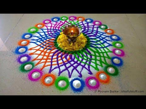 beautiful multicolored flower rangoli design by poonam borkar