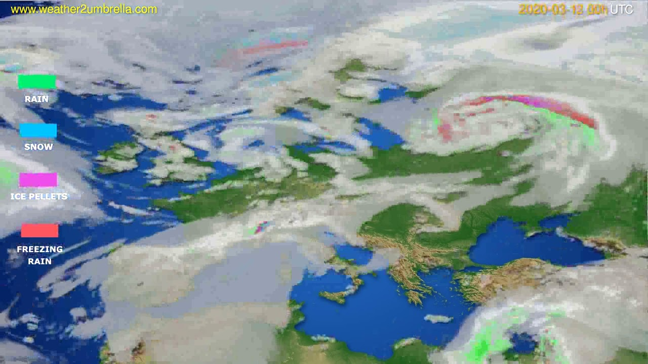 Precipitation forecast Europe // modelrun: 00h UTC 2020-03-12