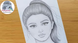How To Draw A Girl With Ponytail Hairstyle || Pencil Sketch || Face Drawing || Bir Kız Nasıl çizilir