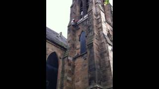Repelling down a church steeple!