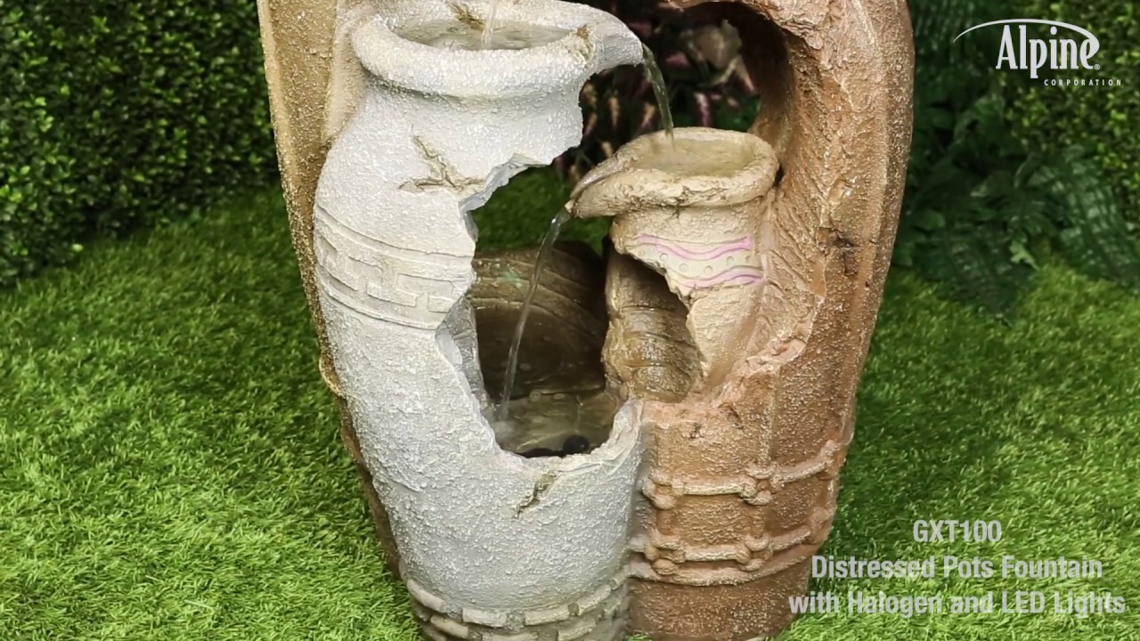 Distressed Urn Pottery Rustic Garden Fountain