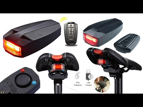 Bicycle Security Wireless Bike Alarm Anti-theft Remote Control tail light Unboxing Review