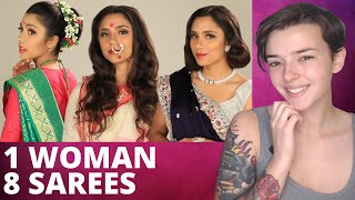 Sarees From All Over India! | 1 Woman, 8 Sarees | REACTION!!!