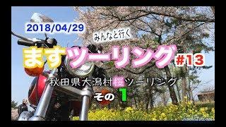 ますツーリング#13秋田県大潟村桜菜の花ロードその1FXDLローライダーハーレー