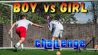 Футбольный челлендж. Boy vs Girl challenge. Удар на точность.