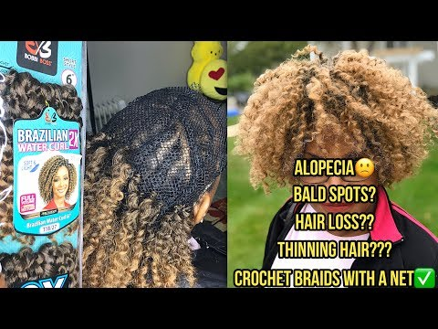 HOW TO - CROCHET BRAIDS ON A NET FOR THINNING HAIR - BOBBI BOSS BRAZILIAN 2X WATER CURL