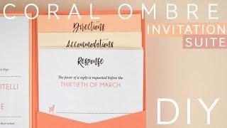Coral Ombre Wedding Invitation Suite