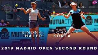 Simona Halep Vs. Johanna Konta | 2019 Madrid Open Second Round | WTA Highlights