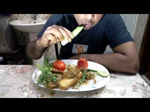 , title : 'massive  spicy mutton carry  with rice,tomatoes, cucumbers, onion, green Chili/eating  show, mukbang