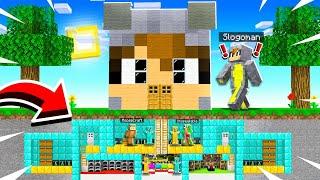 I Built A TINY UNDERGROUND SECRET MANSION Inside My FRIEND SLOGOMAN's HOUSE in MINECRAFT!