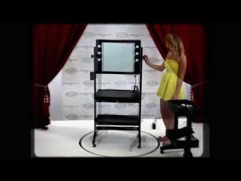 video L400x2 TABLE DE MAQUILLAGE AVEC MIROIR SUR ROUES
