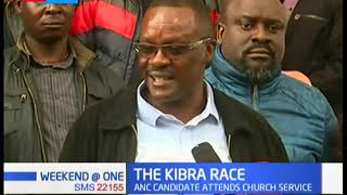 ANC candidate for the Kibra by-elections Eliud Owalo attends church service in Kibra