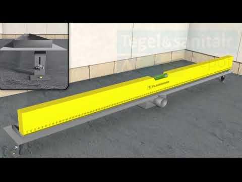 RVS Douchegoot flens met uitneembaar sifon 180x7cm 6,7cm diep STANDAARD ROOSTER