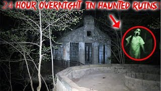 24 HOUR OVERNIGHT CHALLENGE AT HAUNTED RUINS IN MOUNTAINS! | MOE SARGI