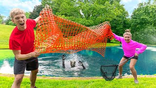 Capturing Mystery Pond Monster Creature in Sharer Family Backyard!! (DIY Underwater Cage)