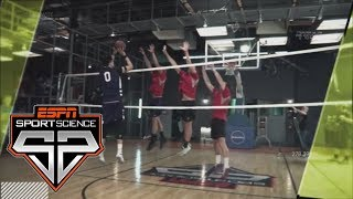 Zach Collins Tries Shooting Against Volleyball Blockers   Sport Science   ESPN
