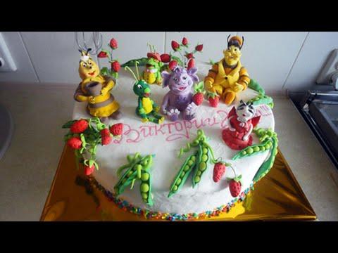 """Как сделать декор торта по мотивам мультфильма """"Лунтик"""""""