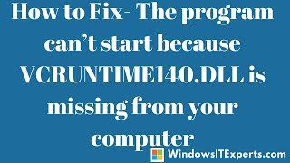 vcruntime140 dll is missing wamp