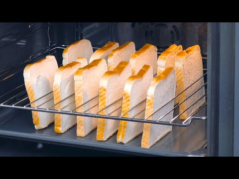 Put 12 Bread Slices Upright In A Wire Rack & Turn On The Oven   Tasty Toasted Sandwiches