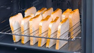 Put 12 Bread Slices Upright In A Wire Rack & Turn On The Oven | Tasty Toasted Sandwiches
