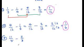 SF2 Subtraction of Fractions (Dissimilar Fractions)