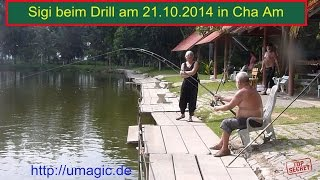 preview picture of video 'Angeln in Cha Am, Sigi beim Drill'