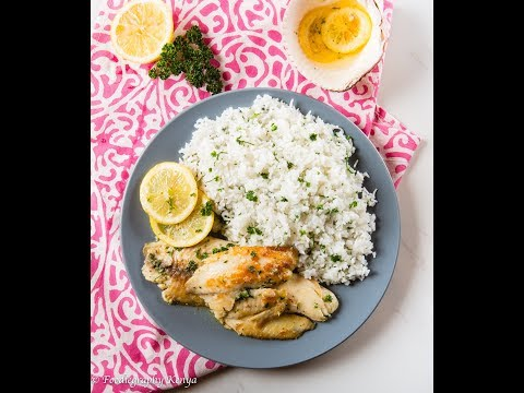 Lemon Butter Fish on Parsley Rice