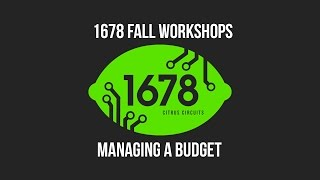 2016 Fall Workshops - Managing a Budget
