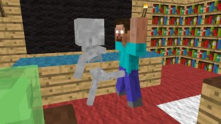 Monster School: Brave - Minecraft Animation - Skeleton kicks balls of Herobrine, he