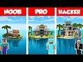 Minecraft NOOB vs PRO vs HACKER MODERN ISLAND HOUSE BUILD CHALLENGE in Minecraft Animation