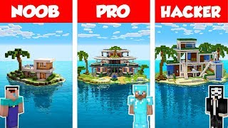 Minecraft NOOB vs PRO vs HACKER: MODERN ISLAND HOUSE BUILD CHALLENGE in Minecraft / Animation